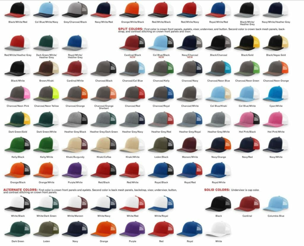 112 trucker hat colors