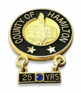 custom years of service city lapel pins