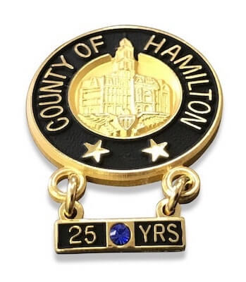 city years of service pins