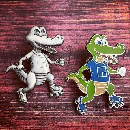 custom lapel pins 3d aligator designs