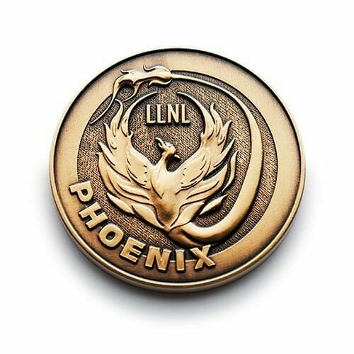 3d logo coin with a phoenix