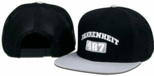 487 black and gray cap