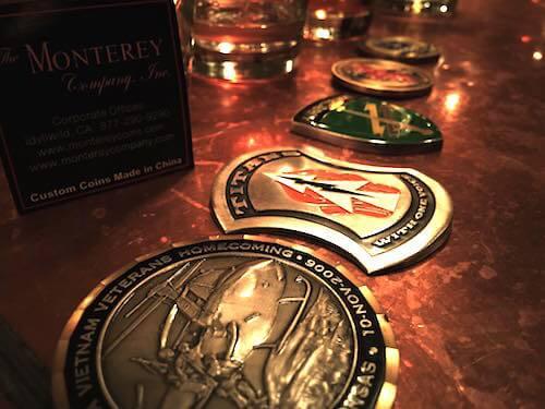 coins on a bar