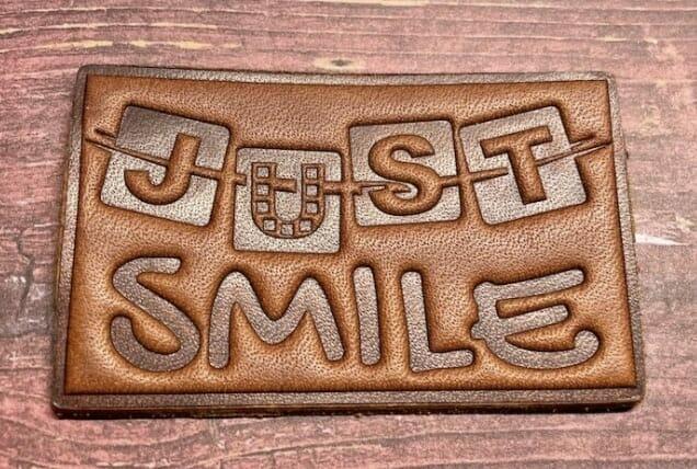 custom debossed leather patch