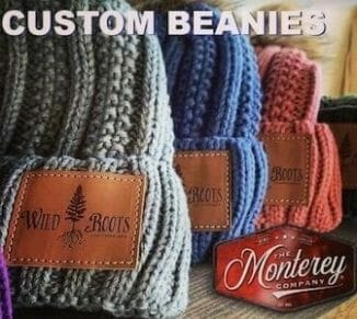 custom leather patches on beanies