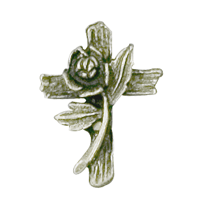 cross with rose lapel pin