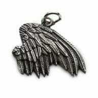 custom shaped silver pendant: wing design