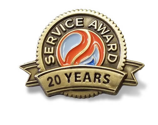 20 year service award gold lapel pin