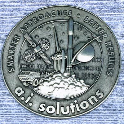 antique silver 3d coin rocket design