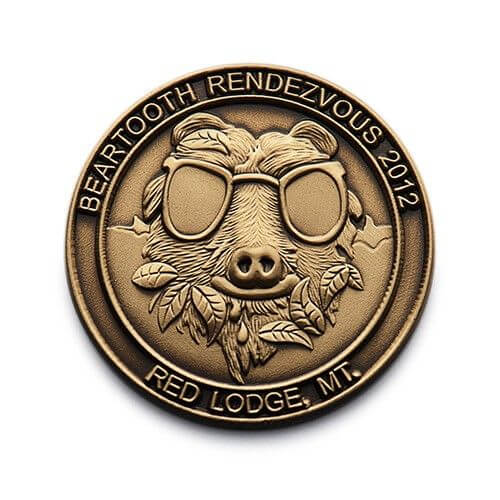 3d bronze pin with pig wearing sun glasses