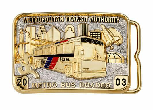 custom metro bus belt buckle
