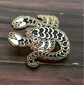 custom shaped scorpion lapel pin design
