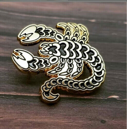 custom shaped scorpion lapel pin design