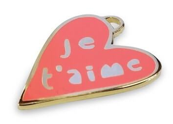 hard enamel charm in heart shape