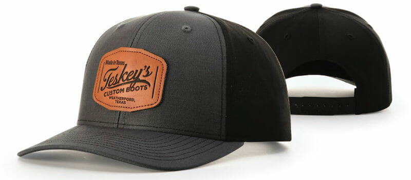 custom hat with leather patch