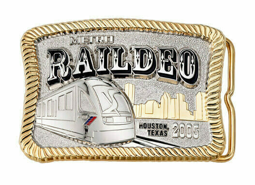 custom silver and gold metro belt buckle