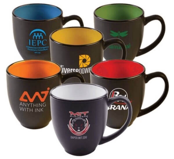 six custom bistro mugs with logos