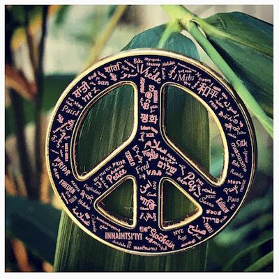 lapel pin custom printed peace sign