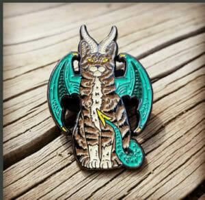 custom shape enamel lapel pin: cat with wings