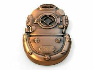 custom shaped divers helmet coin