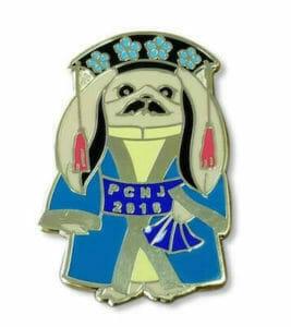 custom hard enamel pin dog logo