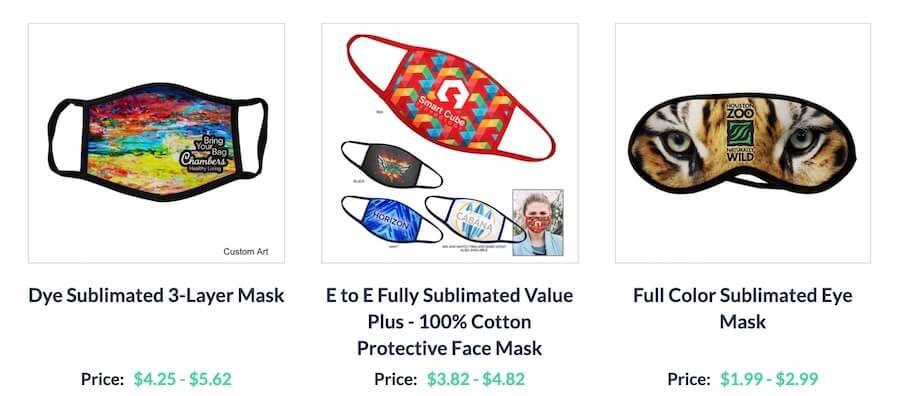 shop sublimated face masks