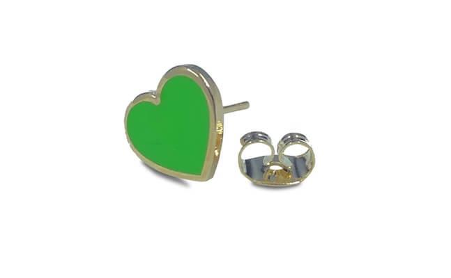 green heart logo earrings