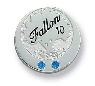 die struck lapel pin with gemstones
