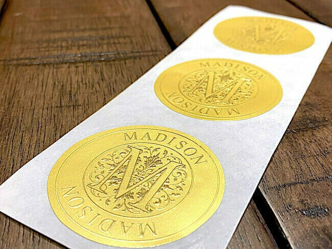 embossed matte gold roll labels