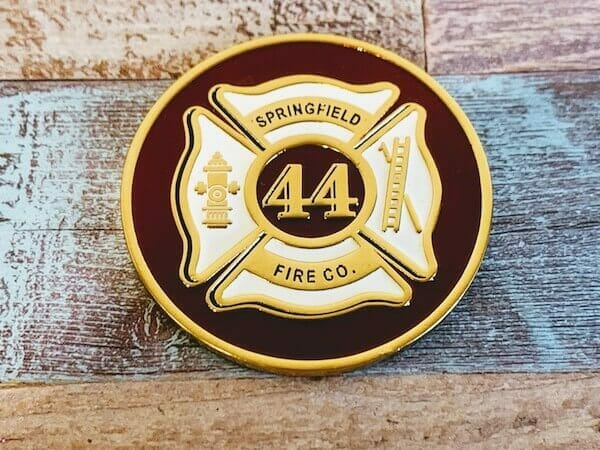 firefighter coin with soft enamel color