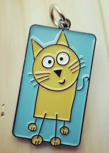 custom enamel charm with cat