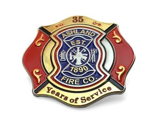 35 year fire department custom shaped service pin