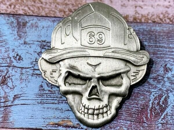 fireman skull coin design