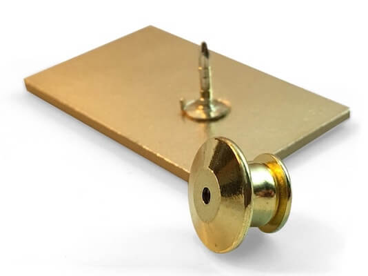 deluxe flat clutch pin attachment in gold