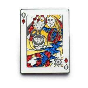 queen of hearts glitter lapel pin