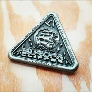 Silver jpl pin with a scooner ship