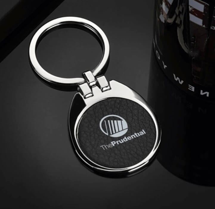 leather key holder with logo insert