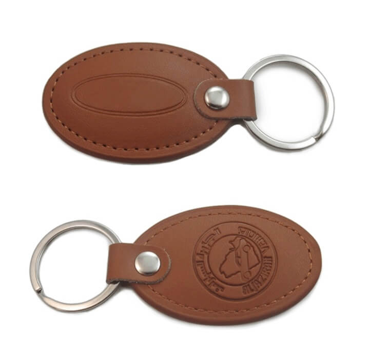 personalized leather keychains oval shape