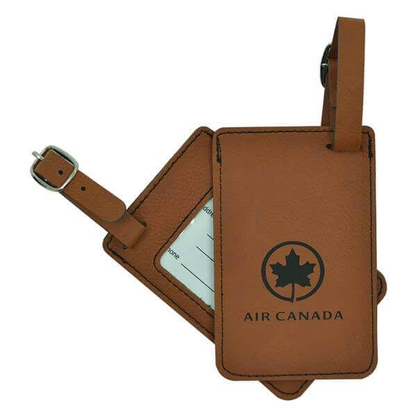 leather luggage tags with air canada logo