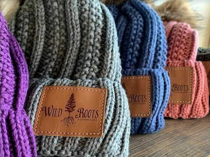 custom beanies with leather patches