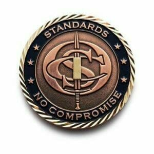 Back of Custom Challenge Coin for OCS School