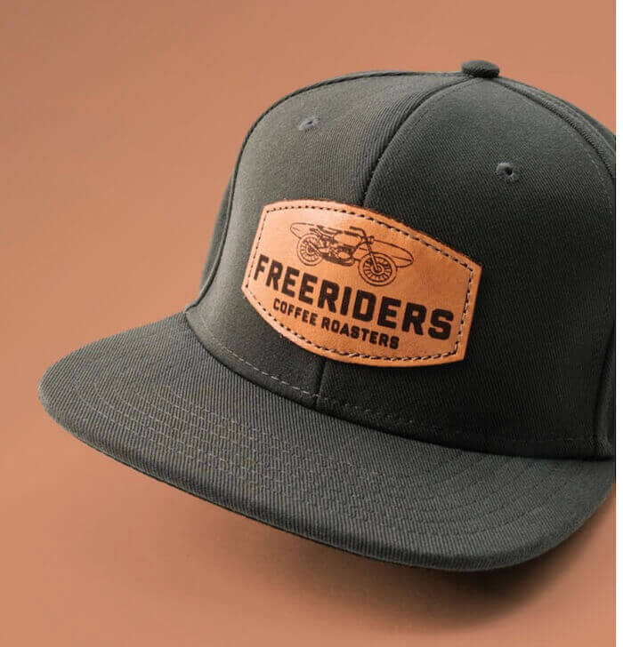 outdoor cap with leather atch