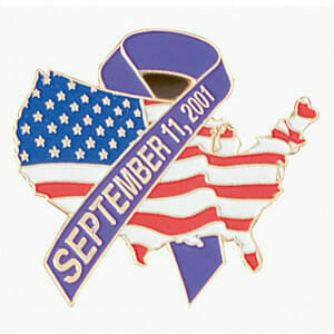 patriotic flag lapel pin with September 11