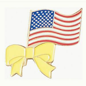 Patriotic flag lapel pin with yellow ribbon