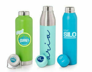 three custom travel tumblers with printed lids