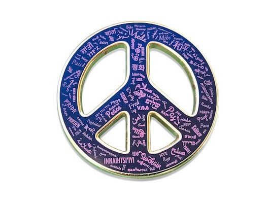custom printed peace sign pin