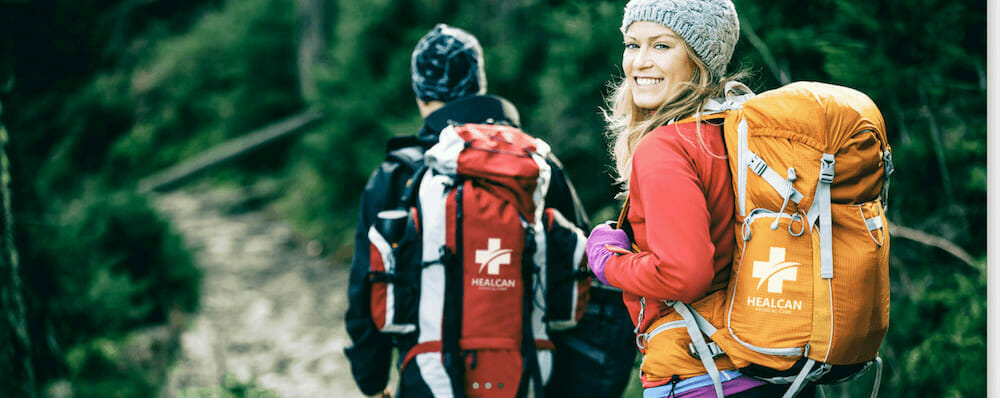promotional products backbacks on hikers