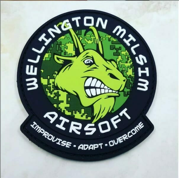 pvc airsoft patch with goat logo
