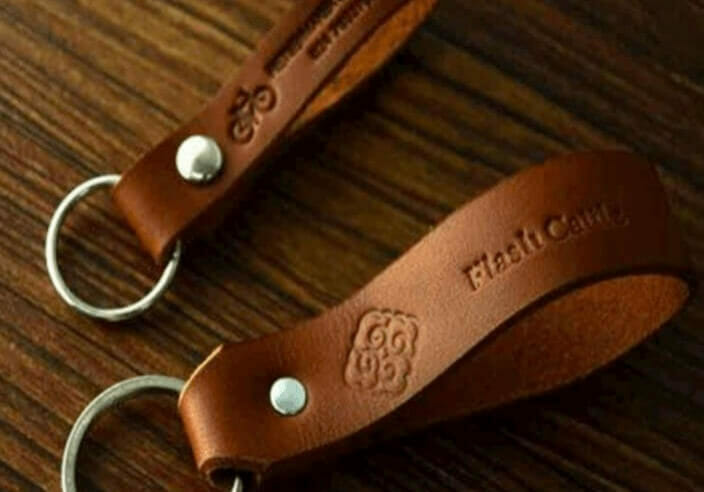 embossed leather keychain