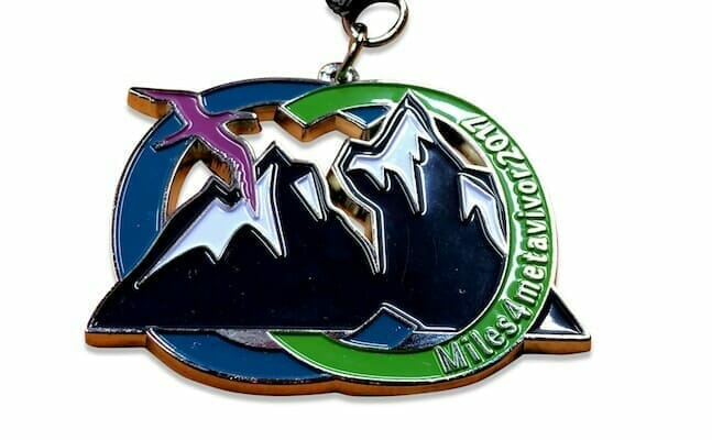custom race medal with mountains